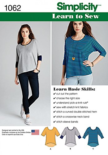 f1e88a7a7778 Simplicity Ladies Easy Learn to Sew Sewing Pattern 1062 Jersey Knit Tops   Amazon.co.uk  Kitchen   Home