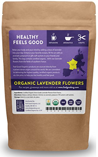 Organic Lavender Flowers (Extra Grade - Dried) - 4oz Resealable Bag - 100% Raw From France - by Feel Good Organics