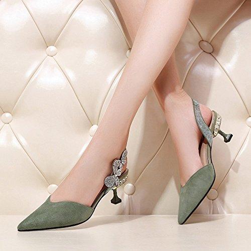 Sandalias para Tacón Verano de Verde Mujer Sandalias de Aguja de GYHDDP Zapatillas Tacón Moda de de bajo d5wFZWIq