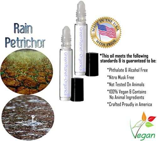 Rain Perfume Collection For Deep Relaxation (Sets of 2 .33oz Bottles, Unisex) Choose Your Rain Scent (Rain Petrichor)