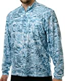 Aqua Design Men's Spear Fishing 1/4 Zip High Collar Long Sleeve Rash Guard Shirt, Aqua Sky, M