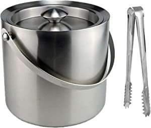 3 Liter Stainless Steel Ice Bucket, Double Walled Insulated with Airtight Leak Resistant Lid Portable Handle with Tong
