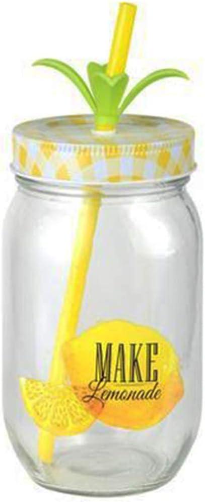 TD Mason Jars Paille Jaune Lot de 4 Bocal am/éricain /à jus de Fruit Soda th/é Cocktail Liqueur Glasses Citron Jars Mugs Jar -Id/ée Cadeau