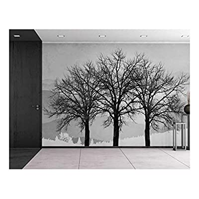 Black and White Winter Trees on a Graphic Background - Contrast Photo Montage Wall Decor - Wall Mural, Removable Sticker, Home Decor - 100x144 inches