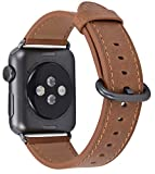 JSGJMY Apple Watch Band 38mm Women Caramel Vintage Genuine Leather Replacement Wrist Iwatch Strap with Space Grey Metal Clasp for Apple Watch Series 3/Series 2/Series 1/Edition/Sport
