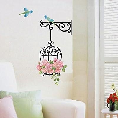 Malloom 2016 Rose Flower Bird Wall Decal Sticker Home Decor Vinyl Removeable Mural Sticker 34*68cm