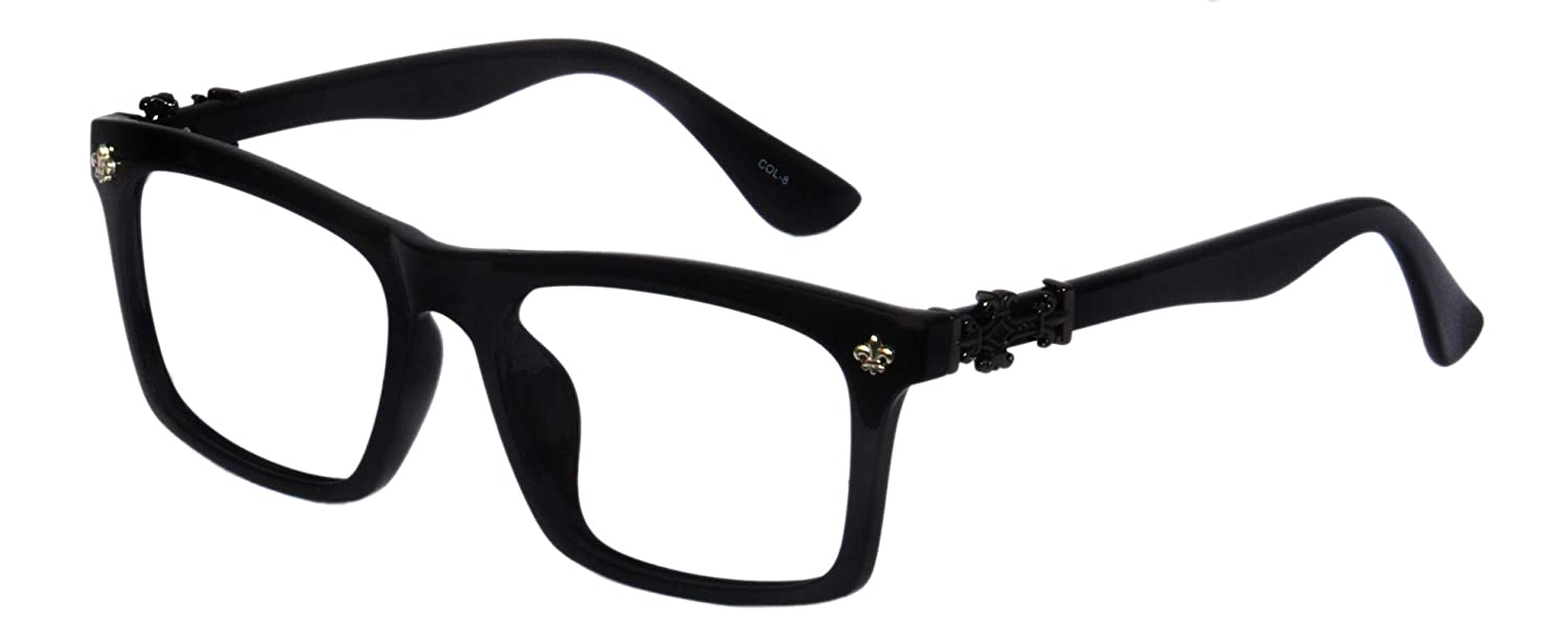 78e48846a959 Lensport Amitabh Bachchan Style Black Square eyewear with clear lens eye  spectacle frame  Amazon.in  Clothing   Accessories