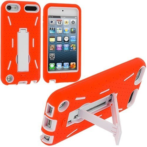 Orange / White Hybrid Rugged Hard Silicone Case Cover w/ Stand for Apple iPod Touch 5th 6th Gen Generation 5G 5 6G 6