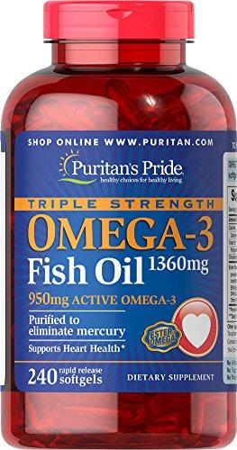 Pride Triple fuerza Omega-3 Fish de Puritan Oil-aceite 1360 mg (activo de 950 mg Omega-3)-240 cápsulas