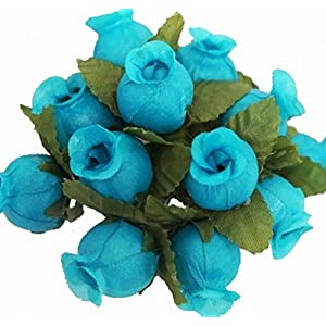 144 Poly Rose Silk Favor Flower Pick Wedding Shower - Turquoise 14