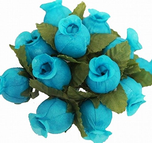 144 Poly Rose Silk Favor Flower Pick Wedding Shower - Turquoise