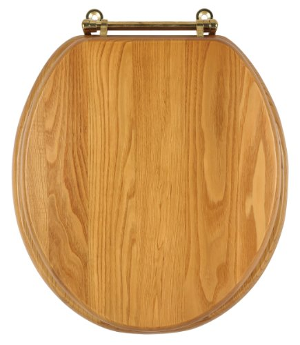 - Design House 561241 HONEY OAK TOILET SEAT, 16.9 BY 14.6,