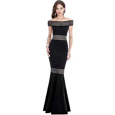 YOUJIA Womens Empire Waist Maxi Dress Off Shoulder Mermaid Style Body Con Party Prom Dress Slim Fit Gowns: Amazon.co.uk: Clothing