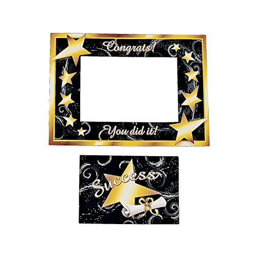 (Fun Express - Grad Magnetic Picture Frame - Black/Gold for Graduation - Stationery - Office Supplies - Magnets - Graduation - 12 Pieces)