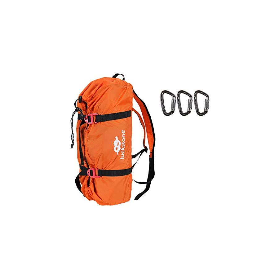 MagiDeal Folding Nylon Rock Climbing Tree Arborist Caving Rope Cord Bag Gear Equipment Storage Backpack with 3 Pieces 24KN Carabiner