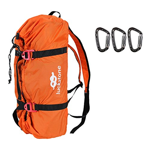 MagiDeal Folding Nylon Rock Climbing Tree Arborist Caving Rope Cord Bag Gear Equipment Storage Backpack with 3 Pieces 24KN Carabiner by MagiDeal