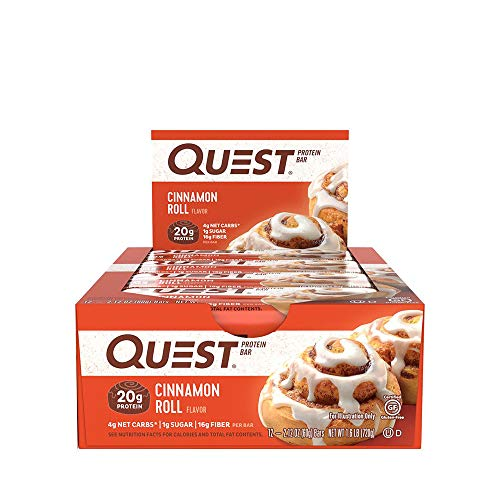 Quest Nutrition Cinnamon Roll Protein Bar, High Protein, Low Carb, Gluten Free, Soy Free, Keto Friendly, 12 Count