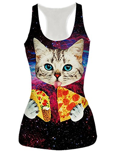 RAISEVERN Womens Galaxy Pizza Cat Printed Casual Sleeveless T Shirt Tank Tops, Pizza Cat, OS