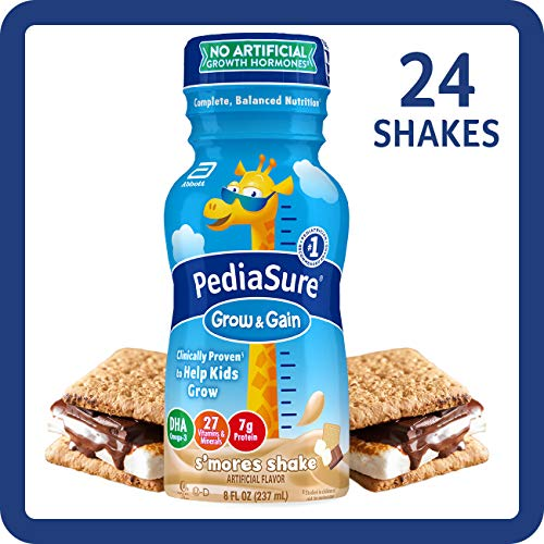 PediaSure Grow & Gain Kids' Nutritional Shake, with Protein, DHA, and Vitamins & Minerals, S'Mores, 8 fl oz, 24 Count