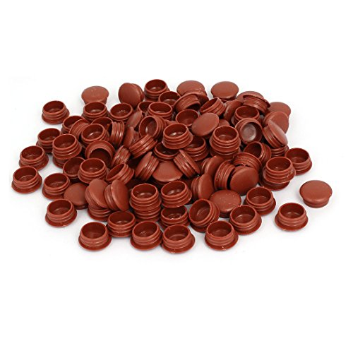uxcell 15mm Dia Plastic Round Flush Mounted Tube Insert Hole Covers Brown (Brown Round Pipe)