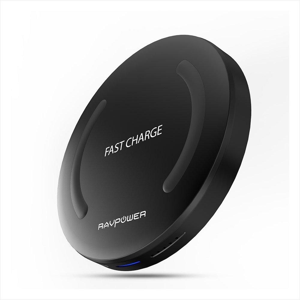 RAVPower Carga rápida Cargador Qi inalámbrico Cargador inalámbrico Soporte de carga Pad inalámbrico Pad Base de carga de control de calidad de carga rápida para Samsung S8 / S8 Plus / S7 / S7 Edge / S6 y otros dispositivos con certificación Qi