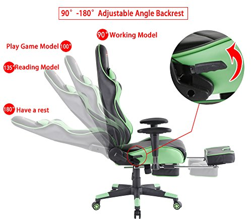 516Jh5PjvDL - Top-Gamer-Ergonomic-Gaming-Chair-High-back-Swivel-Computer-Office-Chair-with-Footrest-Adjusting-Headrest-and-Lumbar-Support-Racing-Chair-Green