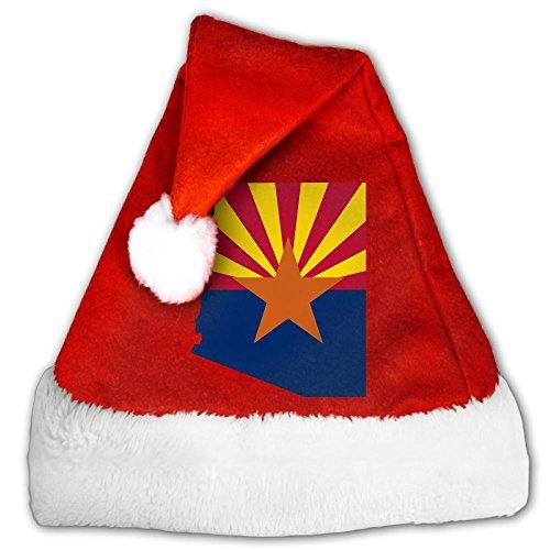 Santa Hat Merry Christmas Hat Velvet Santa Hat Festive Holiday Hat For Adults Kids - Arizona State Flag - Arizona For Kids Map