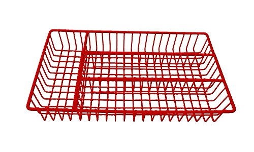 Deluxe Stainless Steel Cutlery Tray L: 32cm x W: 18.5cm x H: 4cm (Red)