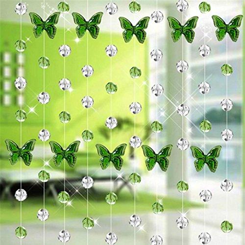 DDLBiz Luxury Crystal Glass Bead Butterfly Curtain Living Room Bedroom Window Door Wedding Decor (Green)