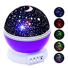 Romantic Rotating Projector Cosmos Astrostar Astro Star Sky Moon Night Lighting Lamp 2 Generation 4 LED Beads 3 Model Light Gift for Christmas (Blue)