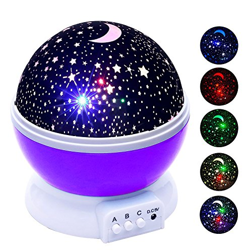 Stillcool Baby Night Light Star Projector 360 Degree Rotation   4 Led Bulbs Lamp 5 Light Color Changing With Usb Cable  Purple   Unique Gifts For Men Women Kids Best Baby Gift  Christmas Gift