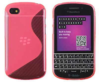 Premium Colorful S-Line Flexible TPU Gel Case for BlackBerry Q10 - Includes DandyCase Keychain Screen Cleaner [Retail Packaging by DandyCase] from DandyCase