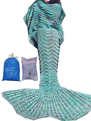 MOFANG FAMILY Soft Mermaid Tail Blanket Sofa Quilts Sleeping Bag for kids Adult 71