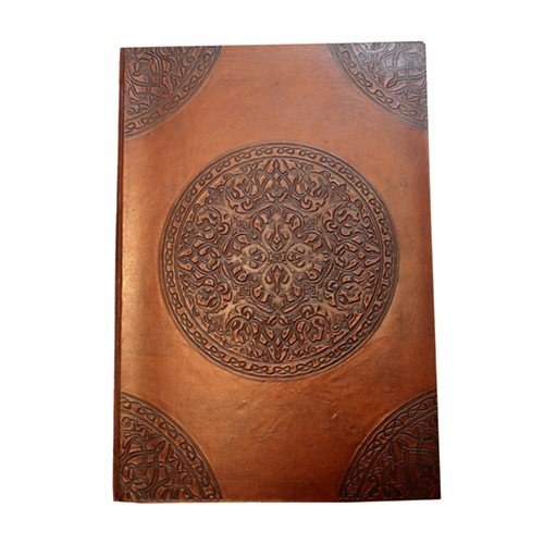 EMBOSSED MEDALLION BROWN LEATHER JOURNAL 8.125x1x11.75''H
