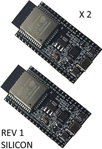 2 PACK Espressif ESP32 ESP32-DEVKITC inc ESP-WROOM-32 soldered dils CE FCC Rev 1 Silicon