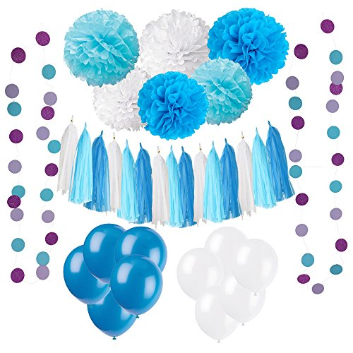 Wartoon 33 Pcs Paper Pom Poms Flowers Tissue Balloon Tassel Garland Polka Dot Paper Garland Kit for Birthday Wedding Party Decorations - Blue and Sky Blue,White (Party Streamer)