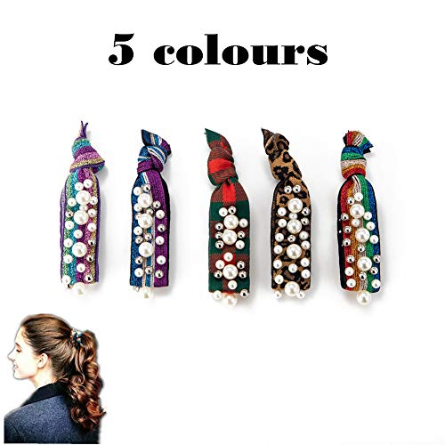 GUNIANG Pearl Ribbon Hair Tie, Elastic Hair Ties No Crease Ponytail Holder for Thick Hair Hairties Bracelet for Girls ()