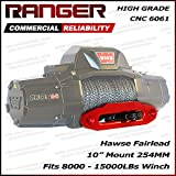"""Ranger 10"""" (254MM) Mount Aluminum Hawse Fairlead for Synthetic Winch Rope Cable Lead Guide For 8000-15000 LBs Winch Glossy Red"""