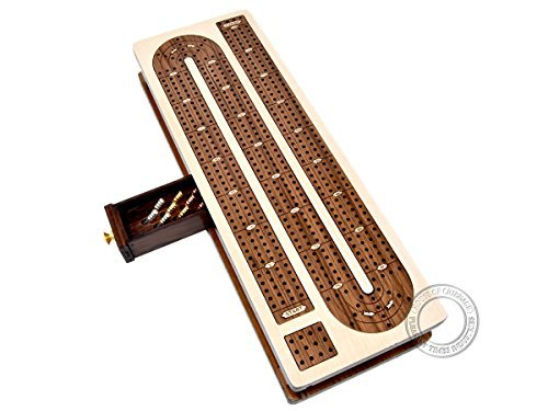 House of Cribbage - Continuous Cribbage Board Inlaid 4 Tracks Maple/Teakwood with Sliding Lids and Drawer by House of Cribbage