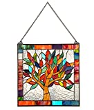 Stained Glass Tree of Life Window Panel - 18 Inch Sqaure