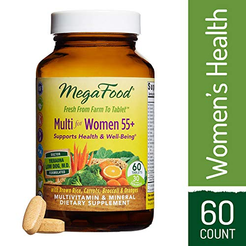 MegaFood - Multi for Women 55+, Multivitamin Support for Cardiovascular and Bone Health, Cognition, and Mood Balance with Methylated Folate and B12, Vegetarian, Gluten-Free, Non-GMO, 60 Tablets