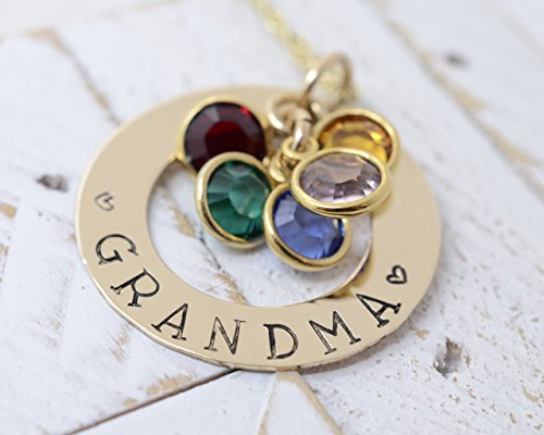 Personalized Grandma Necklace 14K Gold Filled Family Birthstone Necklace - Mother's Day Gift Jewelry by Love It Personalized