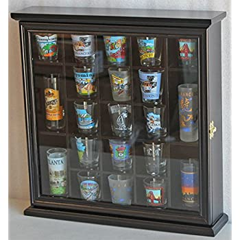 Amazon.com | Shot Glass Display Case Wall Rack Cabinet, with glass ...
