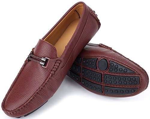 Mio Marino Mens Loafers - Italian Dress Casual Loafers for Men - Slip-on Driving Shoes - in Gift Shoe Bag - Cultured Pebble Leather Loafer - Chocolate - Size US-9D(M) ()