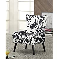 Overstock Zita High Back Traditional Arm Chair, Black/White
