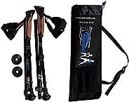 York Nordic Shorter Length Traveler Trek Folding Walking Poles with Carrying Bag (2 Piece), Black, 5ft 4in and