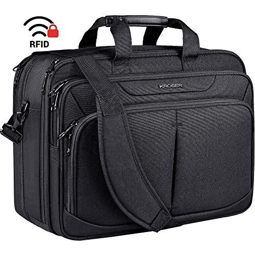 KROSER Premium Laptop Bag 17 Inch Expandable Lightweight Briefcase Large Business Work Bag Water-Repellent Messenger Shoulder Bag with RFID Pockets for School/Travel/Women/Men-Black