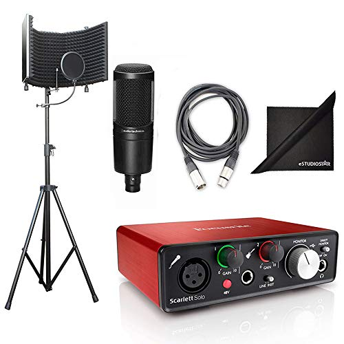 (AxcessAbles SF-101Kit Studio Recording w/Audio Technica Condenser Microphone, Podcast Kit, Focusrite Scarlett Solo interface, Free Protools First and Ableton Live Software, Cables and Polishing Cloth)