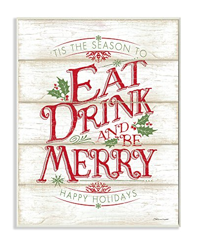 Stupell Industries Eat Drink and Be Merry Wall Plaque, 10 x 15, Multi-Color (Eat Drink Be Merry Wall Canvas)