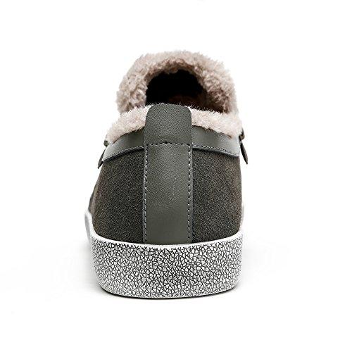 Vilocy Mens Inverno Caldo Pelle Scamosciata Foderata Bassa Top Scarpe Da Lavoro Stivali Da Neve Grigio